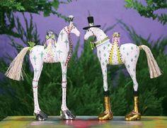 Patience Brewster ANNABELLE & ARTHUR HORSE Set of 2 ornaments Krinkles CUTE! NIB