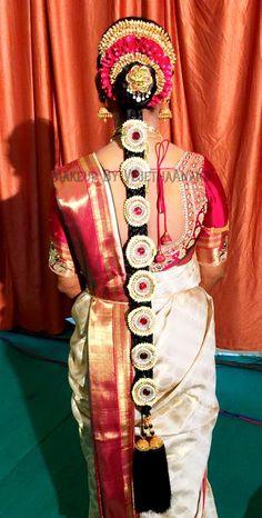 Traditional Southern Indian bride's bridal braid hair. Hairstyle by Vejetha for Swank Studio. #SilkSaree #Blouse #Design #HairAccessory Temple jewelry. Jhumkis. Silk kanchipuram sari. Braid with fresh flowers. Tamil bride. Telugu bride. Kannada bride. Hindu bride. Malayalee bride. Find us at https://www.facebook.com/SwankStudioBangalore