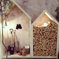 great idea to shelter wood and tools from the direct rain (though don't store wood up against the house as it can harbor termites)