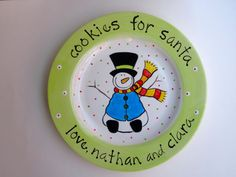 personalized hand painted cookies for santa snowman christmas plate