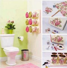 latas para toallas Organizador de toallas con latas decoradas