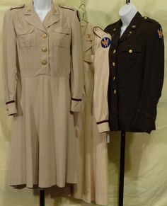 WW II 1st Army Air Force Nurse Service Jacket and two Off-Duty dress's. From 1944