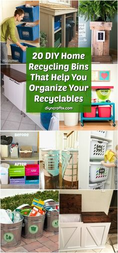 20 DIY Home Recycling Bins That Help You Organize Your Recyclables - A great list of kitchen and household organization hacks that everyone needs!