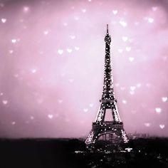 Pink Purple Eiffel Tower Photograph, valentine, radiant orchid, hearts, love, wall decor, 12x12 print