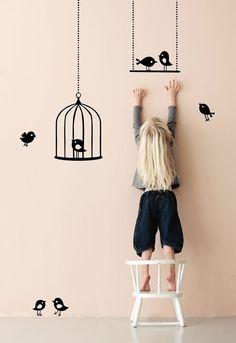 Виниловые наклейки на стены StickMe - Птички на качелях