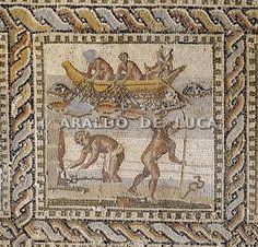 Mosaico di Orfeo. Leptis Magna, particolare con scena di pesca.