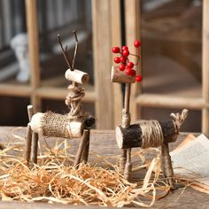 Сэнси бревна веревочной веревки ручной работы оленей украшения ретро лося креативные рождественские олени праздничные подарки домашние украшения