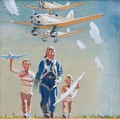 "Александр Дейнека. Обложка книги ""Наша авиация"" 1939"