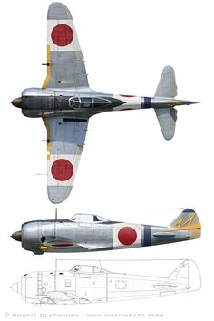 Ki-44-II Hei profile views Navy Aircraft, Aircraft Photos, Ww2 Aircraft, Fighter Aircraft, Military Aircraft, Air Fighter, Fighter Jets, Luftwaffe, In The Air Tonight