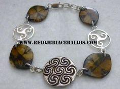 pulsera de plata, símbolos celtas y quiastolitas