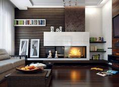 Zimmer Einrichten Wohnzimmer Beleuchtung Kamin Dunkler Boden