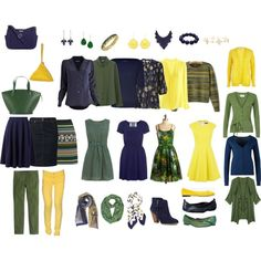 Capsule wardrobe in navy, green, and yellow by tracy-gowen on Polyvore featuring…