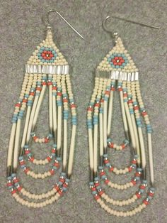 Beaded Coral/Turquoise/Bone Quill Earrings by Indian Beadwork, Native Beadwork, Native American Beadwork, Native American Jewelry, Seed Bead Jewelry, Seed Bead Earrings, Seed Beads, Beaded Earrings Patterns, Beading Patterns