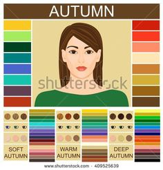 Stock vector Seasonal color analysis palette for soft, warm and deep autumn. Set of three autumn types of female appearance. Face of young woman