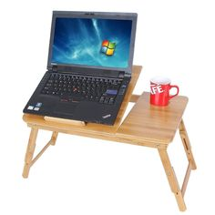 Adjustable Laptop Desk Table 100% Bamboo Tilting Top Drawer Breakfast Bed Tray #Songmics