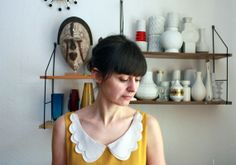 yellow sleeveless top white scallop collar