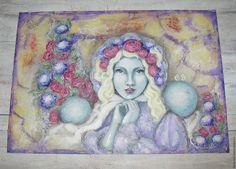 """Купить Картина """"Фарфоровая барышня"""" - акрил, картон, А4 - mixed media - голубой, картина в подарок"""