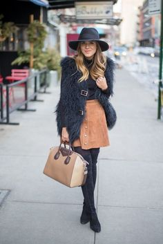 Suede Skirt and fluffy gilet