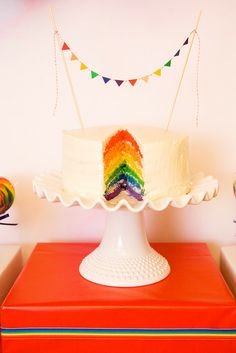 Adorable rainbow cake bunting and matching cake! 80s Birthday Parties, Rainbow Birthday Party, Rainbow Theme, 80th Birthday, Rainbow Cakes, Happy Birthday, Rainbow Food, Kid Parties, Pyjamas Party