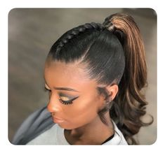 25 Pretty Hairstyles for Black Women 2018 - African American Hairstyles - Qt Hair - Hair Designs Ponytail Styles, Sleek Ponytail, Short Hair Styles, Ponytail Easy, Perfect Ponytail, Black Hair Ponytail, Braids Into Ponytail, Long Ponytail Weave, Sporty Ponytail