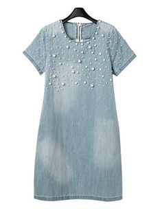 Cheap sexy party dress, Buy Quality denim dress directly from China party dresses Suppliers: Summer New Women Jean Loose Short-Sleeve casual plus size S - vestidos Beaded Denim Dresses vintage Brand Sexy Party Dress Plus Size Jeans, Dress Plus Size, Short Sleeve Denim Dress, Womens Denim Dress, Short Sleeves, Long Sleeve, Moda Jeans, Jeans Denim, Blue Jeans