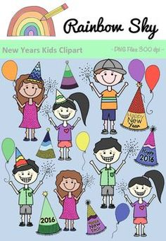 New Years Kids Clipart 2016 Rainbow Sky, New Years 2016, 2 Boys, 2 Girl, Sparklers, Party Hats, Balloons, Clip Art, Crisp