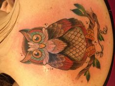 My owl tattoo in memory of my father and grandmother. My watchers from beyond.