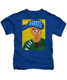 Patrick Francis Designer Kids Royal Blue T-Shirt featuring the painting Portrait Of Camille Roulin - After Vincent Van Gogh by Patrick Francis