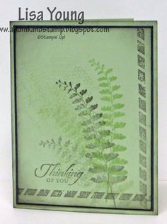I made this for the January Creative Crew challenge: masculine sympathy. I kept it simple and just grunted it up a bit with some sponging. I love this fern image from the new Occasions catalog!   TFL. Lisa Young