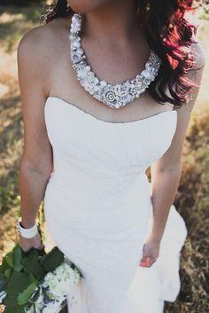 Silver & Soft White Statement Necklace Bridal Bib by BrassBoheme, $125.00