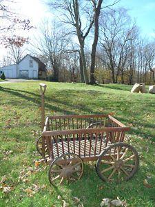 Antique Vintage Garden Rustic Country Primitive Wood Goat Cart Pull Wagon  Decor