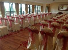 White/Pink Chair Covers