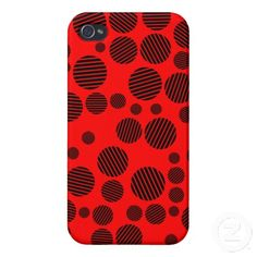 Black and Red Polka Dots Pattern iPhone Case Cool Iphone Cases, Iphone 4, Iphone Case Covers, Create Your Own, Polka Dots, Cool Stuff, Red, Pattern, Black