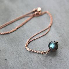 Rose Gold Labradorite Necklace Storm Blue Flash by GlitzGlitter