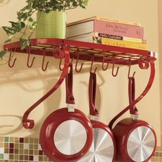 Wall Mounted Book Shelf Pot Rack countrydoor.com