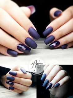 matte purple plum nails by semilac pink nails