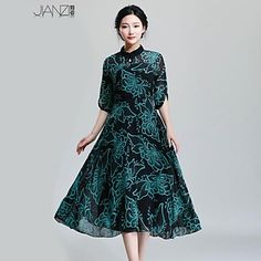 Women's Sexy/Casual/Print/Cute/Party/Plus Sizes Micro-elastic ½ Length Sleeve Midi Dress (Chiffon/Polyester) – USD $ 34.99