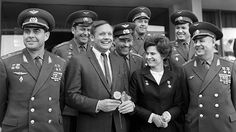https://flic.kr/p/mboDNp | Neil Armstrong with Valentina Tereshkova and cosmonauts visiting Star city, Moscow-URSS (1970)