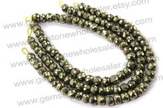 Pyrite Faceted Roundel Quality AA / 18 cm / by GemstoneWholesaler, $26.40