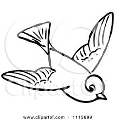 Clipart Vintage Black And White Flying Bird - Royalty Free Vector Illustration by Prawny Vintage
