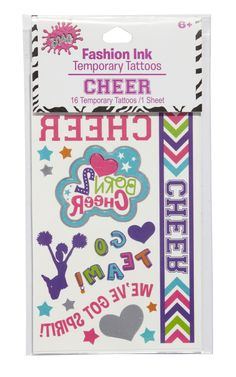 Temporary Tattoos, Cheer - gifts for girls, tween, teen