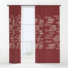 Red Love Text Pattern Window Curtains