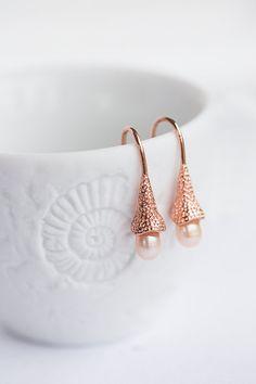 Pearl Drop Earrings Pastel Peach Pink Pearls Tea Rose by daimblond