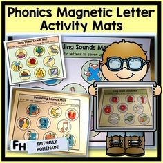 Students will practice beginning sounds, ending sounds, short vowels, and long vowels with these activity mats.  Use these mats with magnetic letters, alphabet blocks, alphabet bean bags, etc.  This activity is great for centers, cookie trays, playing games, and much more.