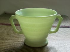 Hazel Atlas Moderntone sugar bowl in light green. $5.00, via Etsy.