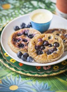 Blueberry pancakes with mango cashew cream #ArtofEatingWell