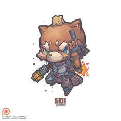 501 - Rocket Raccoon N Baby Groot by Jrpencil