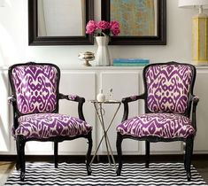ikat purple chairs! im really liking the pattern.
