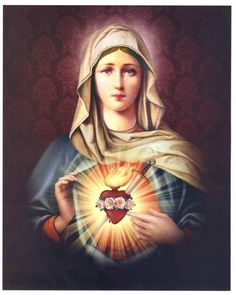 Immaculate Heart of Mary Blessed Mother Mary, Blessed Virgin Mary, Jesus Tattoo, Virgin Mary Painting, Catholic Tattoos, Hail Holy Queen, La Salette, Images Of Mary, Queen Of Heaven