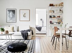 Nordic living room, simple and basic bracket shelves